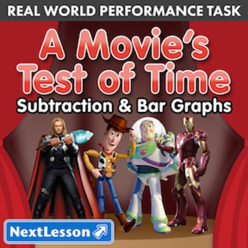 BUNDLE- Performance Task- Subtraction & Bar Graphs- A Movie's Test of Time