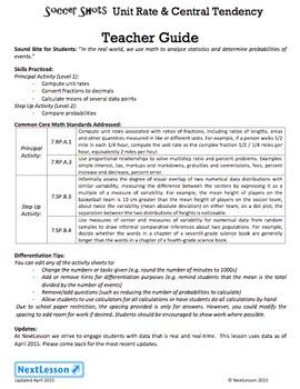 BUNDLE - Performance Task – Unit Rate & Central Tendency – Soccer Shots