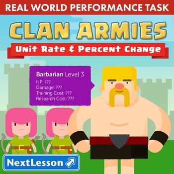 BUNDLE - Performance Task – Unit Rate and Percent Change – Clan Armies