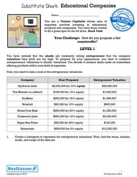 BUNDLE - Performance Tasks – Data Analysis – Substitute Shark