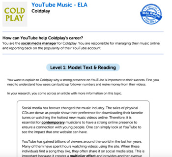 Bundle G8 Informative Reading & Writing - 'YouTube Music' Performance Task