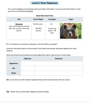 Bundle G8 Informative Reading & Writing - 'Bolting Animals' Performance Task