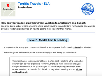 Bundle G7 Informative Reading & Writing - 'Terrific Travels' Performance Task