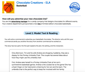 Bundle G5 Narrative Reading & Writing - 'Chocolate Creations' Performance Task