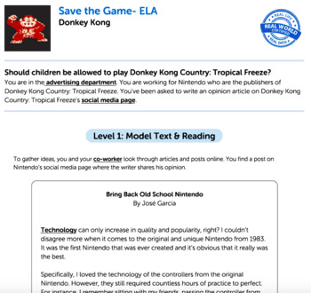 Bundle G5 Opinion Reading & Writing - 'Save the Game' Performance Task