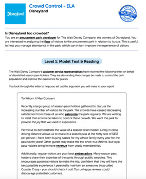 Bundle G8 Argument Reading & Writing - Crowd Control Performance Task