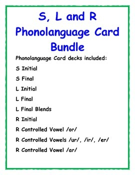 R, S and L Word Phonolanguage Card Game- Bundle