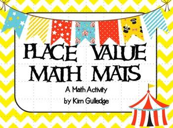 BUNDLE: Place Value Math Mats - Pirates, Circus, Christmas & Zoo
