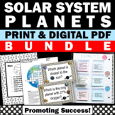 Solar System and Planets Unit BUNDLE Task Cards Interactive Notebook Posters