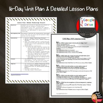 1950's Post World War II American Society BUNDLE– 16 Day Unit Plan