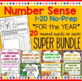 Number Sense NO PREP Printables 1-20 Year BUNDLE - Recognition Tracing Counting