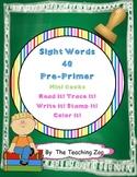 Pre-Primer Sight Word Work Mats & Books