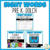BUNDLE PreK Dolch Activity Sheets, PowerPoint and Flash Cards 40 words