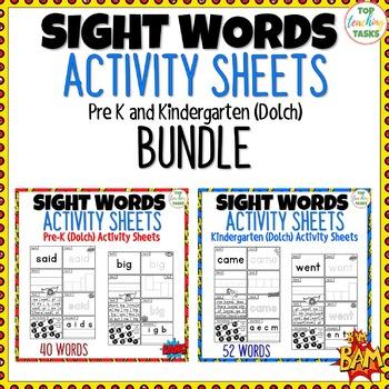 BUNDLE PreK-K SUPER Sight Words Practice (Dolch) Printables