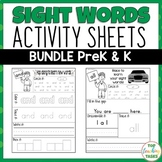 Pre-K and Kindergarten Activity Worksheet Bundle Dolch