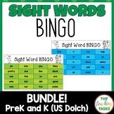 PreK & Kindergarten Bingo Cards Dolch Bundle