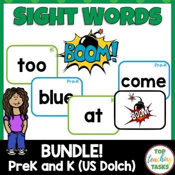 BUNDLE PreK & Kindergarten Dolch Sight Word BOOM Card Games