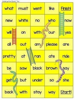 BUNDLE PreK & Kindergarten Dolch Snakes and Ladders Board Games
