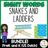 Pre-K and Kindergarten Dolch Sight Word Snakes and Ladders Bundle