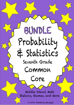 BUNDLE Probability and Statistics Math Stations for Common Core Seventh Grade