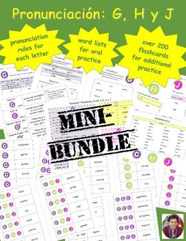 MINI-BUNDLE: Spanish Pronunciation: G, H & J: Rules, Practice, Flashcards +