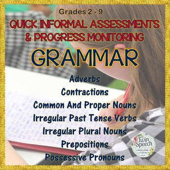 Informal Assessments & Progress Monitoring for Vocabulary, Grammar & Concepts