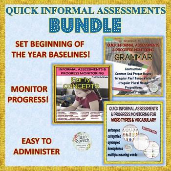 Informal Assessments, Progress Monitoring Bundle- Vocabulary, Grammar & Concepts