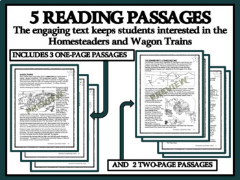 BUNDLE READING COMPREHENSION - Homesteaders, Emigrant Trails and Wagon Trains