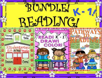 BUNDLE READING NO PREP PRINTABLES and COMPREHENSION!  K - 1