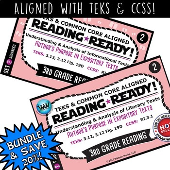 BUNDLE~ READING READY 3rd Grade Task Cards: Author's Purpose in Expository Texts
