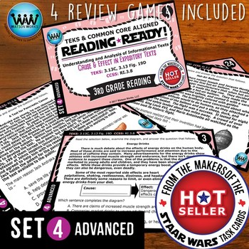 BUNDLE ~ READING READY 3rd Grade Task Cards – Cause & Effect in Expository Texts