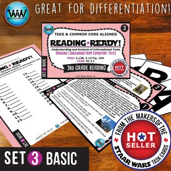 BUNDLE~ READING READY 3rd Grade Task Cards: Drawing Conclusions Expository Texts