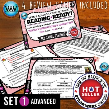 BUNDLE ~ READING READY 3rd Grade Task Cards – Main Idea & Supporting Details