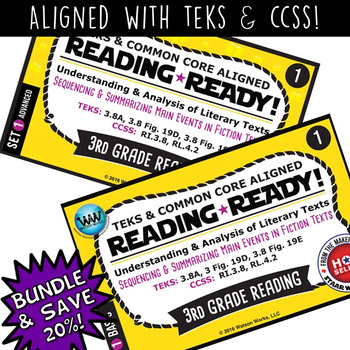 BUNDLE~ READING READY 3rd Grade Task Cards: Sequencing & Summarizing Main Events