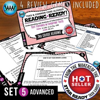 SET 5 BUNDLE - READING READY Task Cards - Text Features in Expository Texts