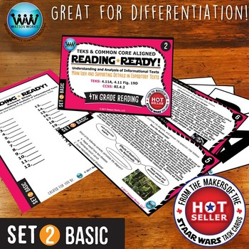 BUNDLE ~ READING READY 4th Grade Task Cards – Main Idea & Supporting Details