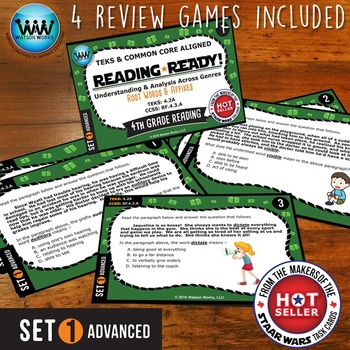 BUNDLE ~ READING READY 4th Grade Task Cards– Root Words & Affixes {TEKS-aligned}