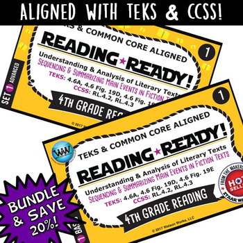 BUNDLE~ READING READY 4th Grade Task Cards: Sequencing & Summarizing Main Events