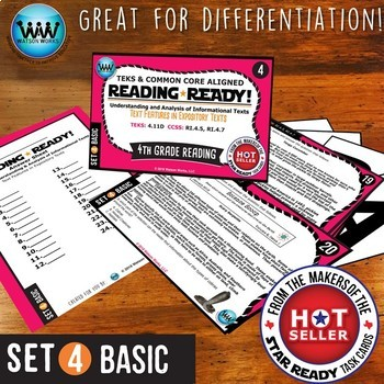 BUNDLE ~ READING READY 4th Grade Task Cards – Text Features in Expository Texts