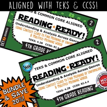 BUNDLE ~ READING READY 4th Grade Task Cards – Using Context Clues