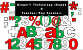 BUNDLE! * RED!  GREEN!  WHITE!  Christmas Color Bulletin Board Letters