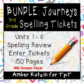 BUNDLE - REVIEW ENTER TICKETS - Spelling 3rd Grade Journey