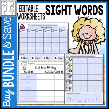 BUNDLE: Rainbow Write Sight Words
