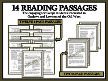 BUNDLE Reading Passages and Comprehension - Outlaws and Lawmen of the Wild West