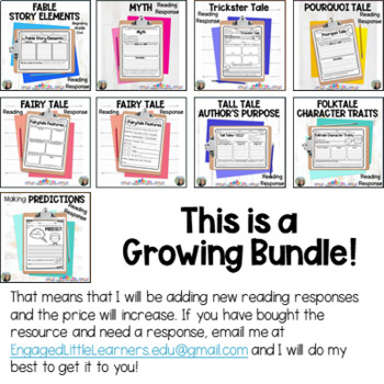 BUNDLE 13 Reading Response Graphic Organizers to support Comprehension
