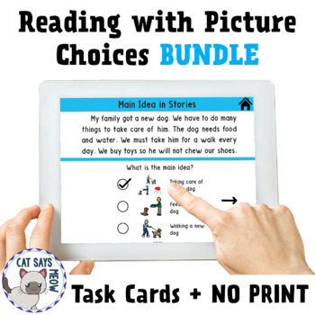 Reading Task Cards with Picture Choices: BUNDLE! (Inferences, Predictions, etc.)