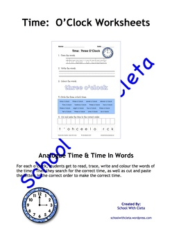 BUNDLE: Reading & Writing Time - O'Clocks (Analogue, Digital, Numbers & Words)