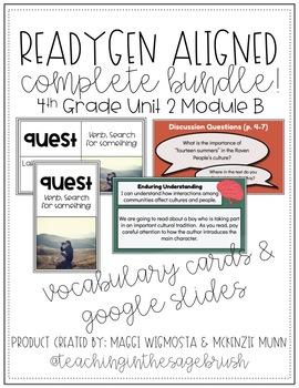 BUNDLE - ReadyGen Aligned 4th Grade Unit 2 Module B Lesson Slides & Vocab Cards