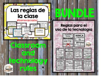 BUNDLE Reglas para la clase y Reglas para la tecnologia #teachmorespanish