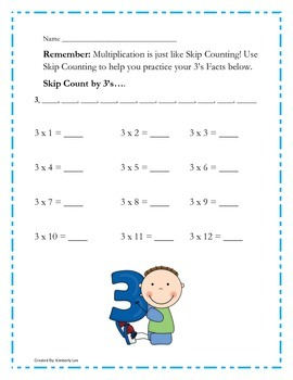 BUNDLE-Repeated Addition and Multiplication Practice Cards 2's-12's